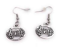 Ohrringe Paar Notenband Noten Musik Notenschlüssel Notentext Ohrring aus Metall