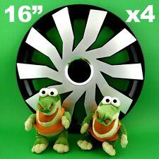 """Enjoliveurs 16"""" Cliff ★4 pièces ★ARGENT+NOIR pour VW Beetle Passat Sharan Tiguan"""