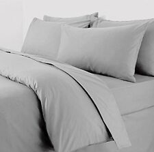 Plain Duvet Quilt Cover Bedding Set With Pillow Cases Percale - KING SIZE (Grey)