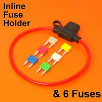 Inline Automotive Mini Blade Fuse Holder & 6 Fuses 5A 10A 15A 20A 25A 30A - Auto