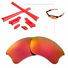 New Walleva Fire Red Lenses And Rubber Kit For Oakley Flak Jacket XLJ