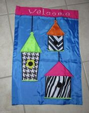 "Modern Birdhouse ""Welcome"" Small Premium Garden Flag Double Sided Appliquéd"