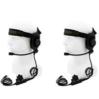 2X CS HD01 Z Tactical Headset Earpiece U94 PTT BaoFeng UV5R Kenwood WalkieTalkie