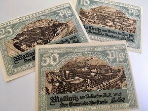 MALLMITZ (Malomice) 1921 Notgeld 10, 25, 50 Pfennigs ****RARE UNCIRCULATED****