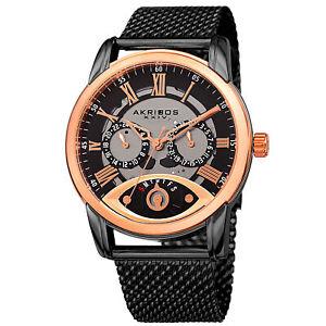 New Men's Akribos XXIV AK846BKR Rose-tone & Black Retrograde Mesh Bracelet Watch