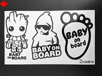 Cool cute Baby on board- groot car Permanent Decal sticker (black or white)