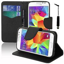 Housse Etui Portefeuille NOIR Effet Tissu Samsung Galaxy Core Prime 4G SM-G361F