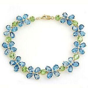 "Topaz & Peridot Leaf Flower Style Women""s Bracelet 14K Yellow Gold Finish"