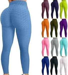Women High Waist Yoga Pants Anti-Cellulite Leggings Sport Gym Honeycomb Trousers
