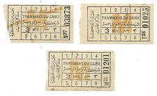 EGYPT - CAIRO TRAMWAYS vintage original tickets 1940s Caire (3 items)