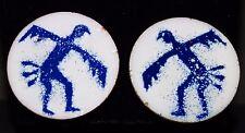 White & Blue enamel Copper Clip on Earrings Native American Thunderbird Symbol