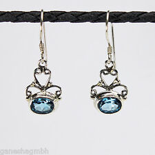 Ohrringe / Ohrhänger aus Silber 925 mit echtem blauen Topas (swissblue)