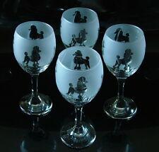 More details for poodle gift dog wine glasses set of 4..boxed