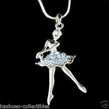 w Swarovski Crystal ~Blue BALLERINA~ Ballet Dancer Teacher Pendant Necklace Xmas