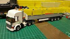 LEGO CITY Custom Bianco Highline Truck con Tri-AXL Pianale Rimorchio MK 3 L @ @ K
