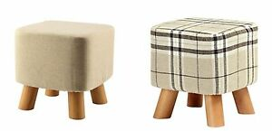 Luxury Padded Square Footstool Pouffe style Stool Wooden with 4 Legs 3Colours