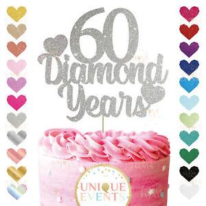 60th wedding anniversary glitter diamond years cake topper customised 60yrs 60