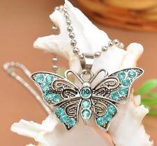 1pcs Light blue Rhinestone Butterfly Tibetan Silver Charm Pendant Necklace