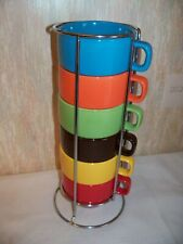 6 Stacking Colorful Mugs w/Chrome Rack