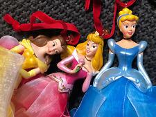 2007 Disney Princess Ornament Belle, Cinderella, Aurora Ribbon Ornaments Set