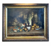 "Antique Oil Painting, Elaborate French Still Life in 31.5"" x 25.5"" Gilt Gesso"