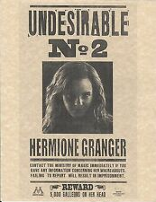 Harry Potter Undesirable Number 2 Hermione Granger Wanted Flyer/Poster Replica