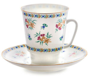 5.5 fl oz Imperial Porcelain Tea Cup and Saucer Fine Bone China Cup w/ Bluebells