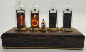 Nixie Tube Clock, In14 In-14 Vintage Tubes, Beautiful Handmade Wood Desk Gift