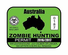 Zombie Hunting Permit, Diecut vinyl adhesive sticker decal  60x50mm