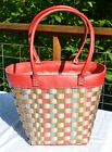 Longaberger TO GO MOTHER'S DAY BASKET Tote Purse Pink Leather Trim Floral Blooms