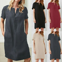 Newly Womens Pure Casual Short Sleeve Cotton Linen Ladies Tunic Tops Mini Dress