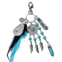 Natural Silver Turquoise Dreamcatcher Keychain Fashion  jewelry Feather Leaf fob