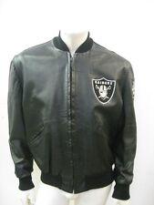 Vintage OAKLAND RAIDERS Black Leather Jacket DeLong USA MADE Size 42
