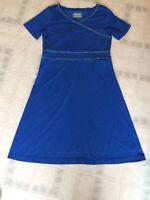 Cabela's Knit Faux Wrap Zig Zag Embroidered Knit Dress Blue Size Medium Short Sl