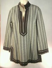 Tory Burch Tunic $295 Brown Cream Classic Hexagon Print Sz 12 NWOT