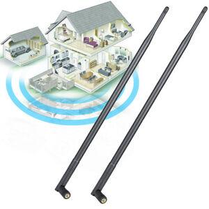 2x 9dBi RP-SMA Dual Band 2.4GHz 5GHz High Gain WiFi Router Wireless Antenna US