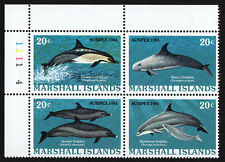 MARSHALL ISLANDS, SCOTT # 54-57 (57A), PLATE BLOCK OF DOLPHINS, SEA CREATURES