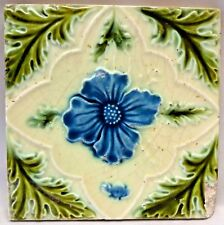 TILE VINTAGE DECORATIVE PURPLE FLOWER ENGLAND MAJOLICA ART NOUVEAU COLLECTI#166