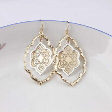 Two Tone Cut Out Gold Filigree Teardrop Chandelier Earrings for Women Jewelry