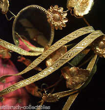 """Antique vtg Gold Metal Trim Tape Lace Ribbon Embroidery 3/8"""" wide for pillows pY"""