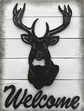 Pottery Barn Welcome Stag Wooden Planked Wall Art Decor - Deer Buck Hunting NEW