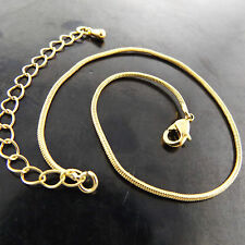 ANKLET  GENUINE REAL 18K YELLOW G/F GOLD SOLID LADIES SNAKE LINK DESIGN 25CM