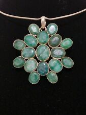 Sterling Silver & Green Beryl Gemstones Pendant & Necklace