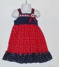 Good Lad Girls Empire Waist Ruffle Hemline Dress Red White & Blue Two (2) NWT