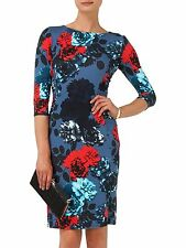 Phase Eight Hendon Blue Red Teal Jersey Bodycon Pencil Cocktail Dress Size 12