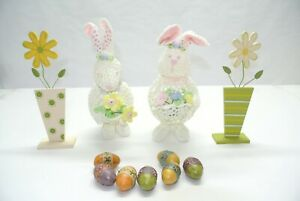 Collection of Easter Spring Rabbits, Eggs & Flowers Decorations