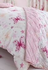 White & Pink Reversible Single Bedspread / Throw - Butterflies, Stars,  Checked