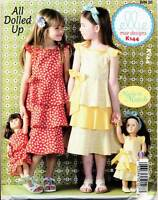 """KWIK SEW SEWING PATTERN 144 GIRLS SZ 3-10 AND 18"""" DOLLS - DRESSES WITH FLOUNCES"""