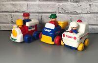 Vintage Retro TOMY 1989/91 Push N Go Train, Dumper Truck, Ambulance Vehicles