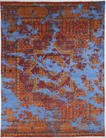 Mamluk Silk Hand Knotted  Living Room Area Rug Blue/Red Afghan Rugs  (8 x 10)